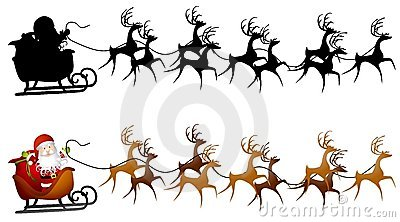 An illustration faturing a silhouette of Santa Claus in his sleigh with reindeer and a clip art version.