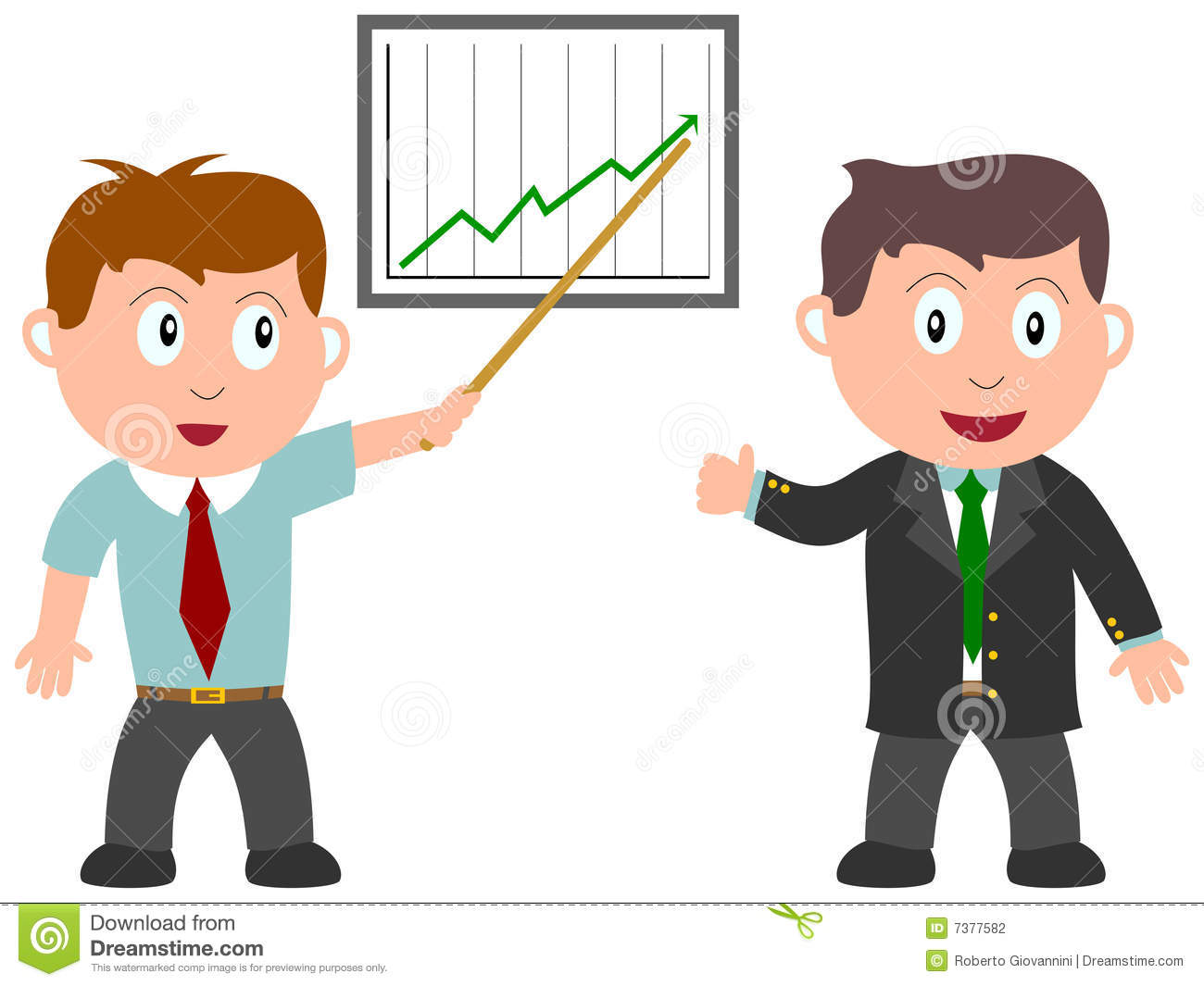 Analyst clipart: A financial analyst and a