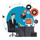 Eps10; Businessman in the office flat illustration