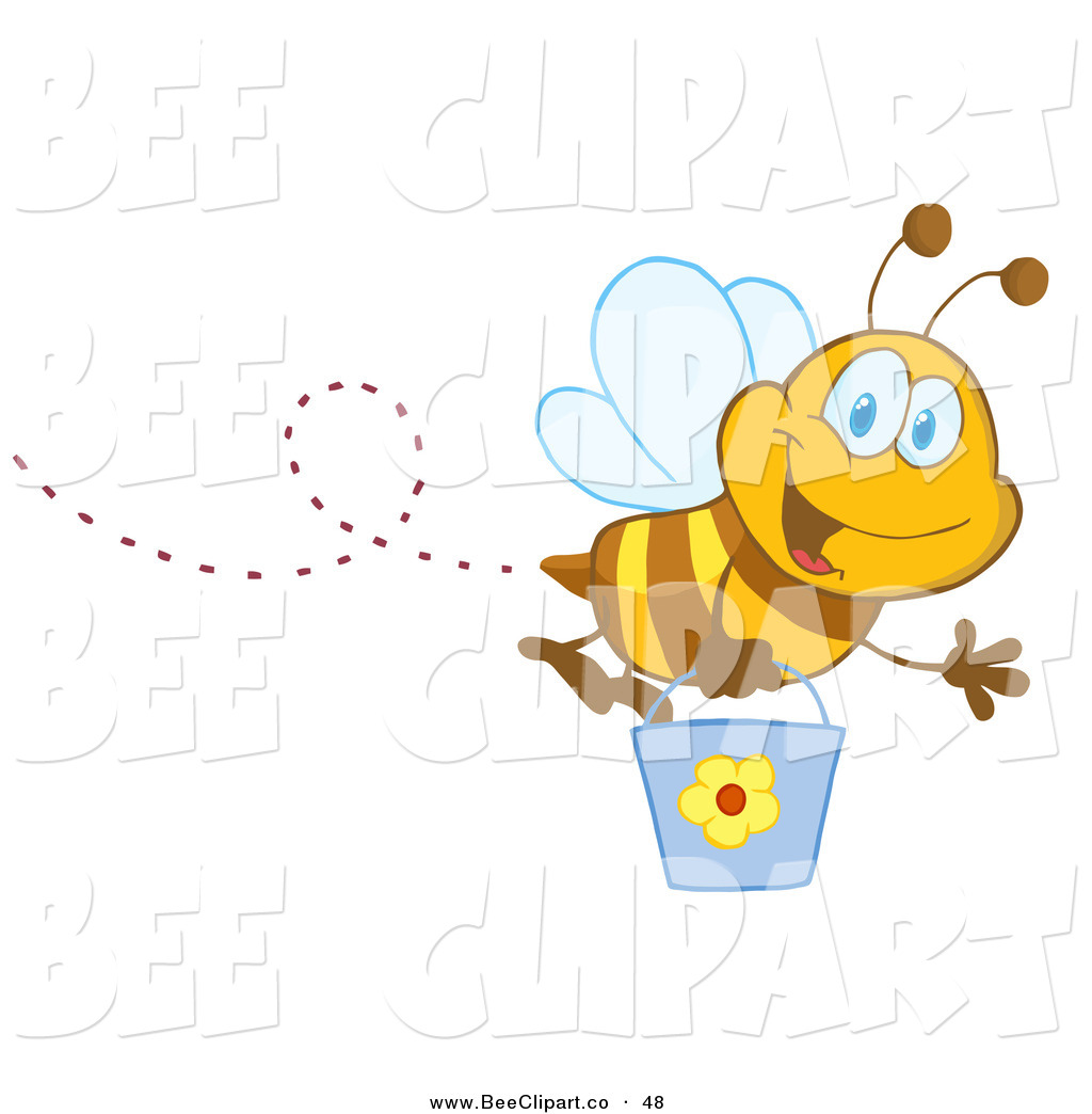 and Happy Honey Bee Flying .