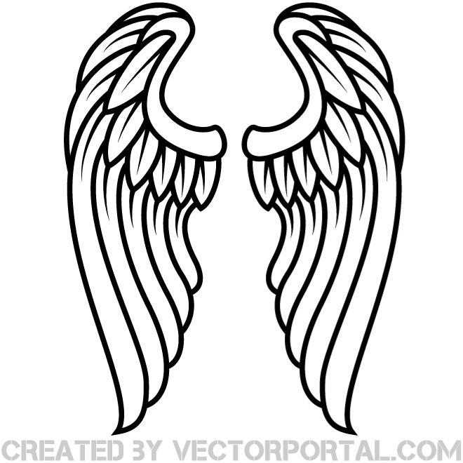 Angel Wings Outline Clipart