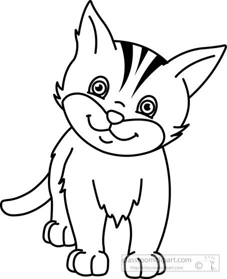Animals Cat Kitten Black White Outline 910 Classroom Clipart