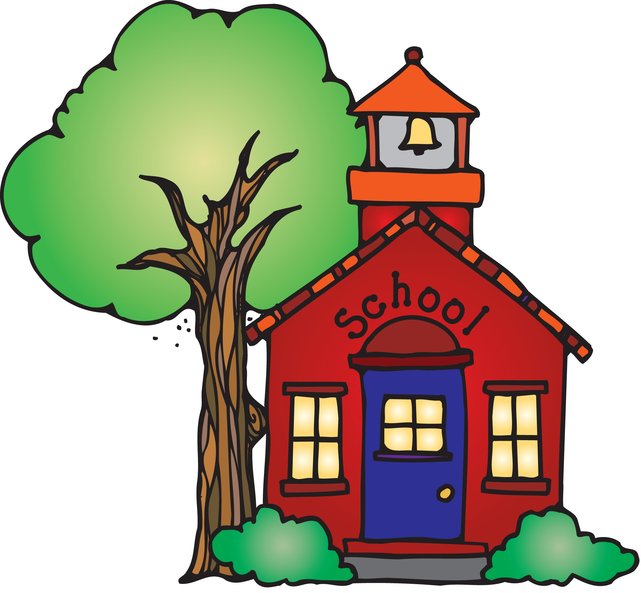 Animated Schoolhouse Clipart .
