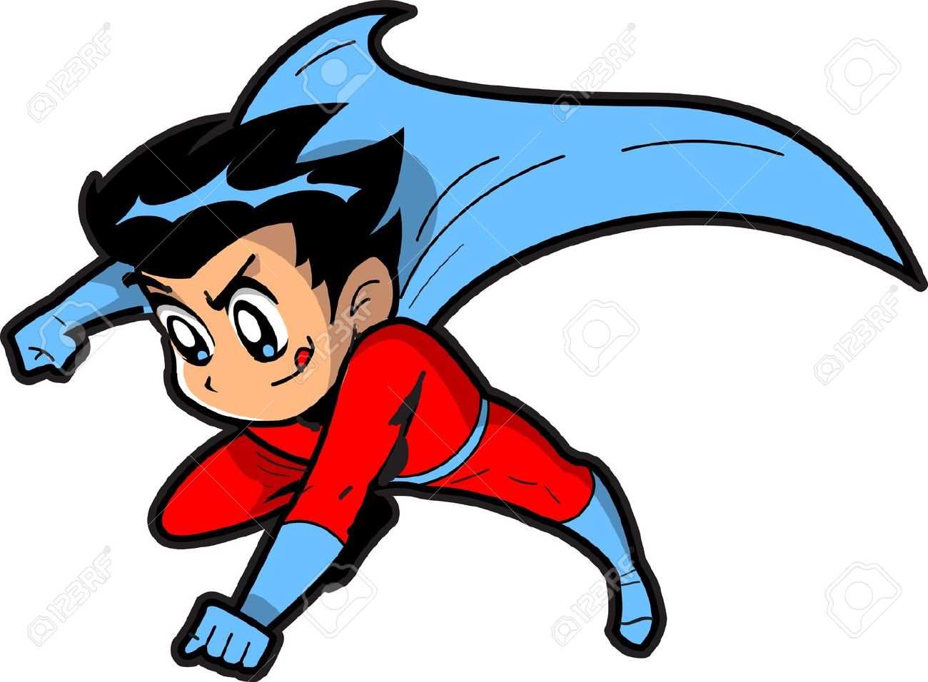Anime Manga Boy Flying Superh - Anime Clipart