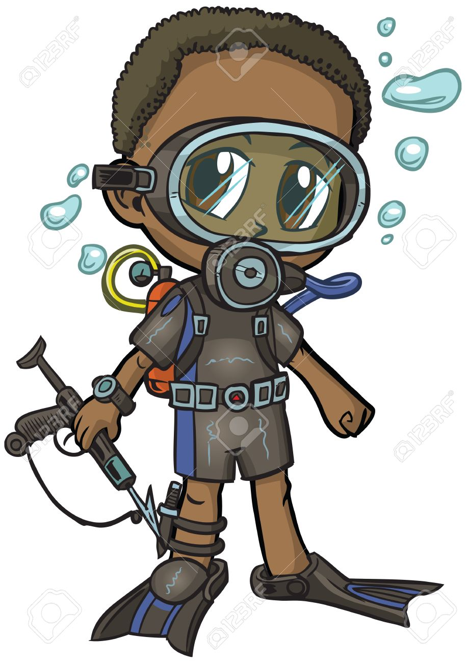 Vector cartoon clip art of an African American boy wearing a scuba suit,  drawn in