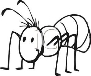 Ant Clip Art: Black And White Ant Clipart
