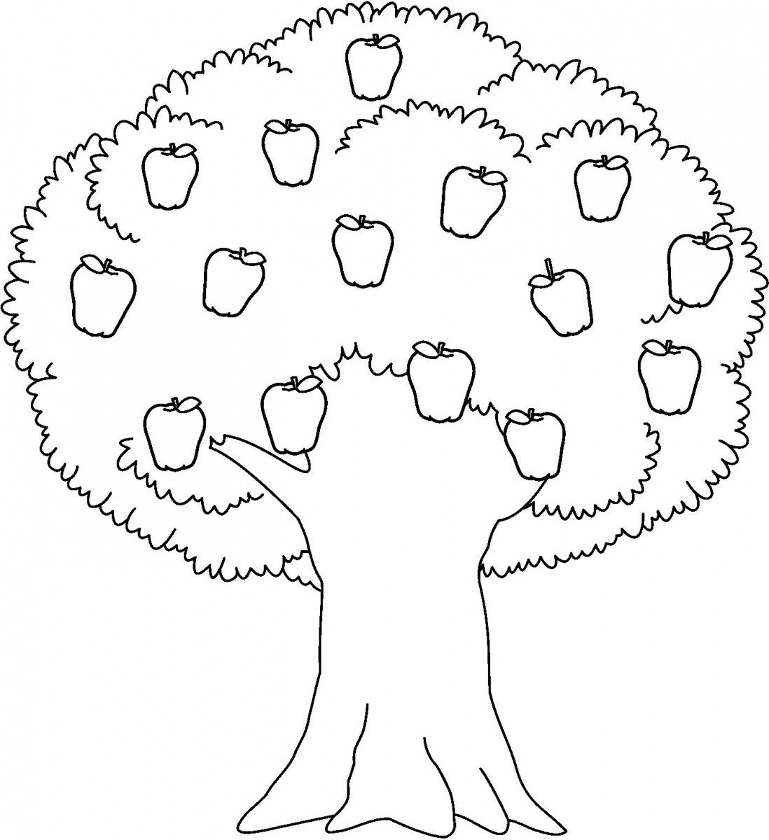 apple tree clipart to color,