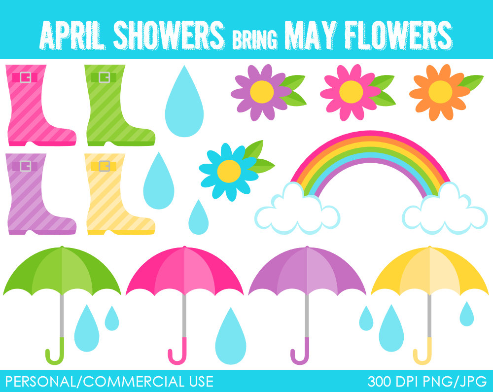 April Showers Borders Clipart #1