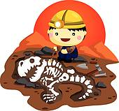 Cartoon Child archaeologist excavat; Archaeologist