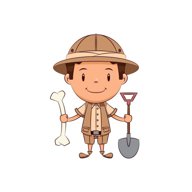 Child archaeologist vector art illustration