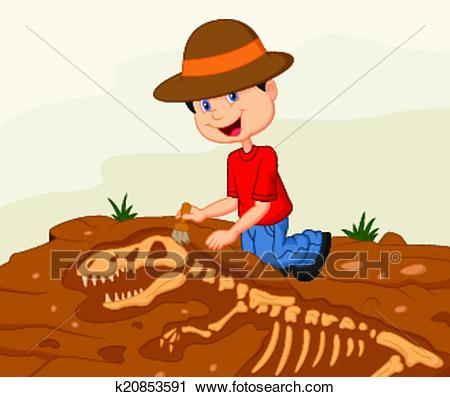 Clipart - Cartoon Child archaeologist excavat. Fotosearch - Search Clip Art,  Illustration Murals,