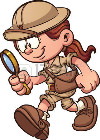 Related Searchesarchaeology · Cartoon safari girl using a magnifying glass.  Vector clip art illustration with simple gradients.