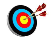 Archery target. 3d illustration of archery target with three arrows Stock  Photos