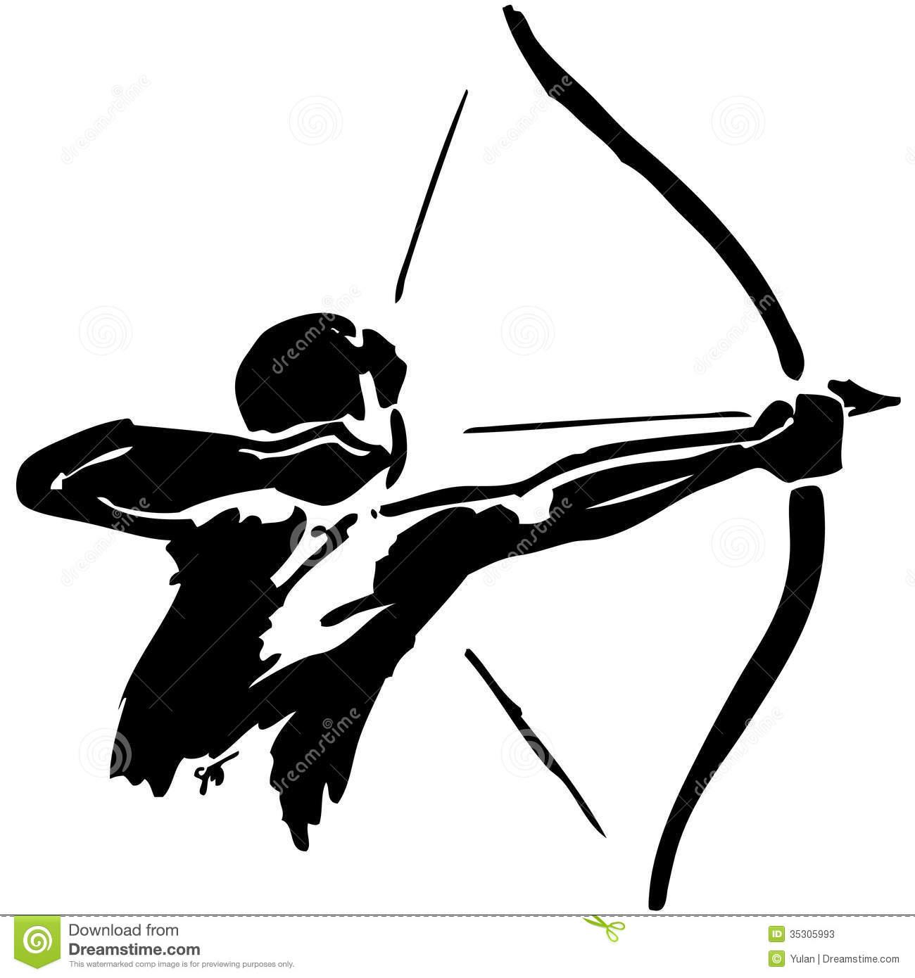 Man practices archery. On white background Stock Photos