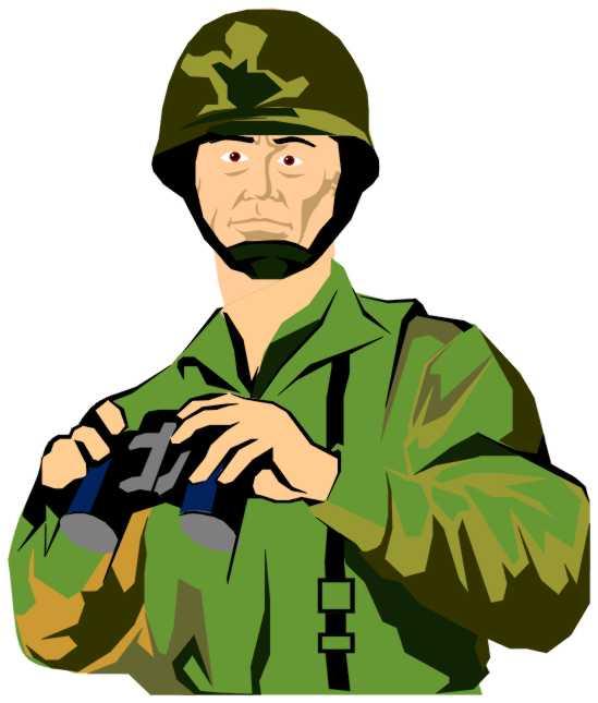 Army Officer Binoculars Clip Art