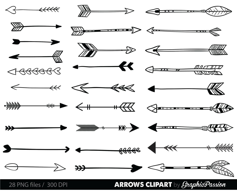 Arrows clip art, tribal arrow clipart, archery hand drawn arrows, doodle drawing tribal digital INSTANT DOWNLOAD