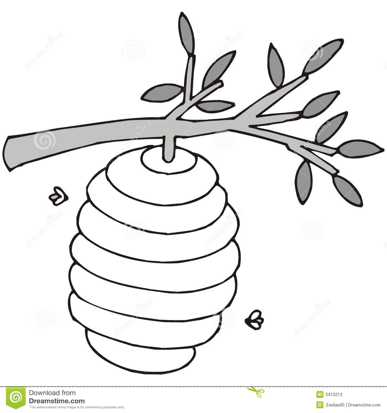 Art Illustration In Black And White A Beehive