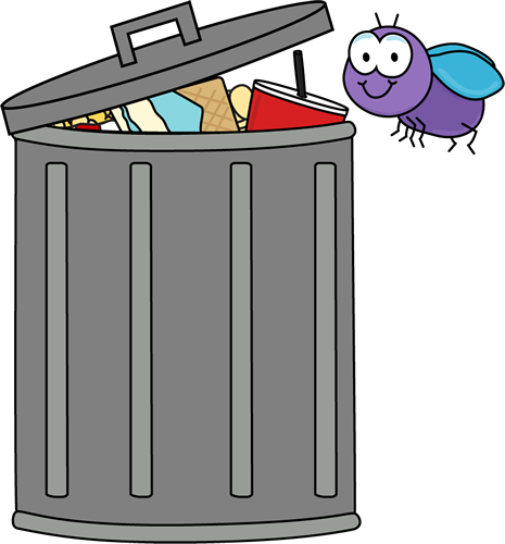 Art Image Purple Fly Flying Around A Trash Can Filled With Garbage