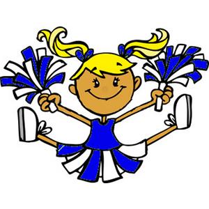 Art Of A Little Girl In A Blue Cheerleader Uniform Performing A Jump