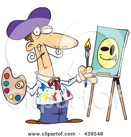 artist clipart 439548 Royalty Free RF Clip Art Illustration Of A Cartoon Smiley Face #Artist