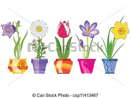 Spring Flowers In Pots - csp1 - Artwork Clipart