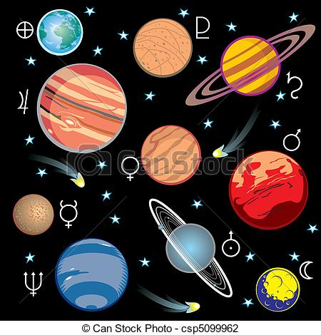 collection of vector images of planets in the solar system with graphical  symbols