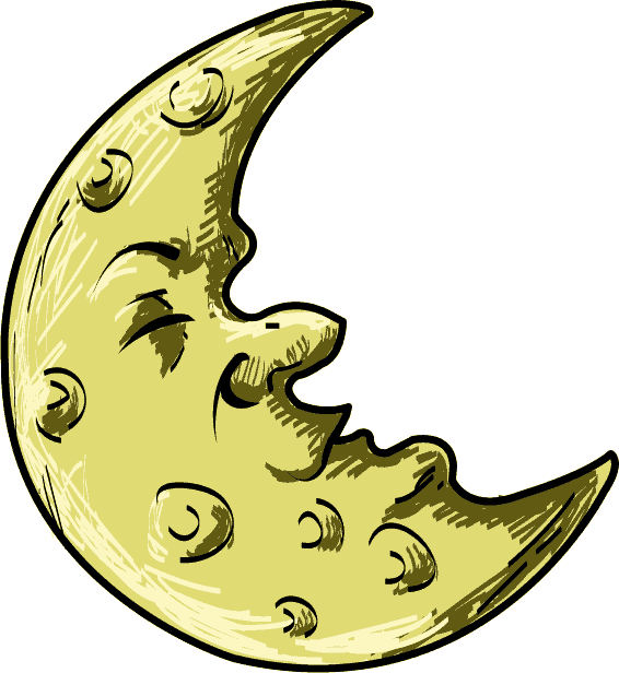 Crescent Cartoon Moon.