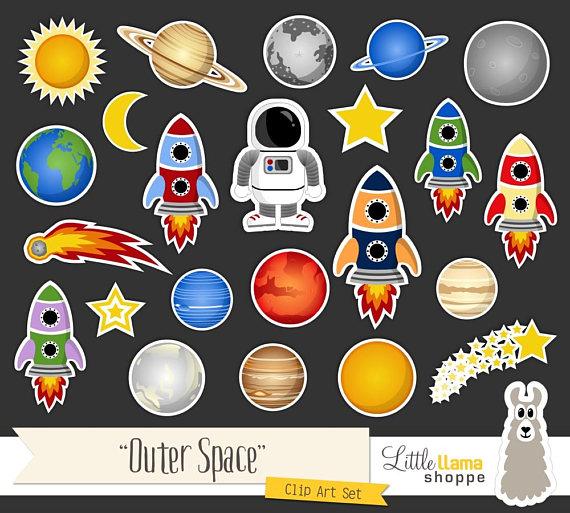 Space Clip Art, Cosmic Astronomy Planets Rockets Astronaut Sun Moon Stars  Comet Clipart Set, Commercial Use de LittleLlamaShoppe en Etsy Studio