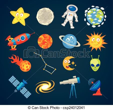 Trendy astronomy icons - csp24012041