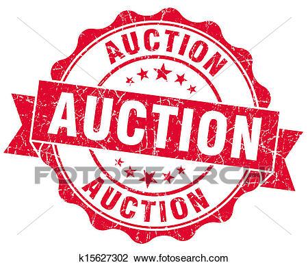 Auction grunge red stamp