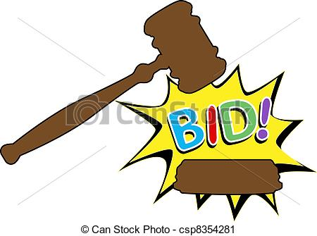 Bid to buy auction gavel cartoon icon - csp8354281