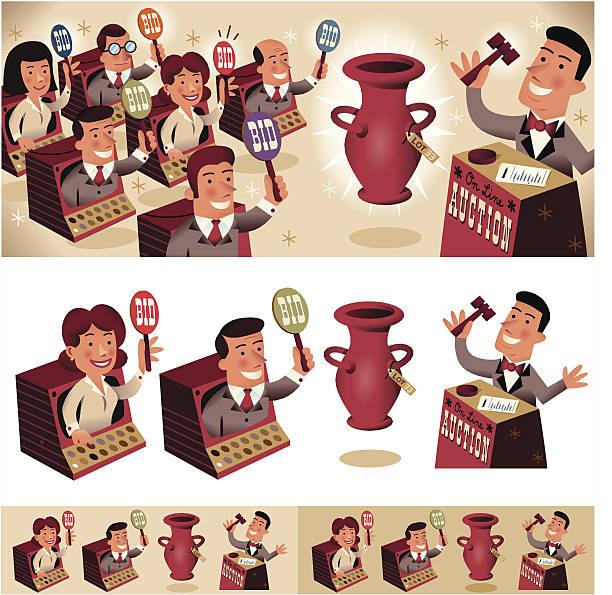 Big Auction! vector art illustration