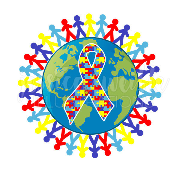 Autism Awareness Earth Cute Digital Clipart, Austism Awareness Clip art, Autism Graphics, Earth Illustration, #109