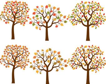 Autumn tree clip art, Fall tree clipart, Oak tree clip art, Maple tree clipart, Autumn illustration, Fall tree graphic, Digital tree set