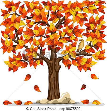 ... Autumn tree with bird isolated on white background