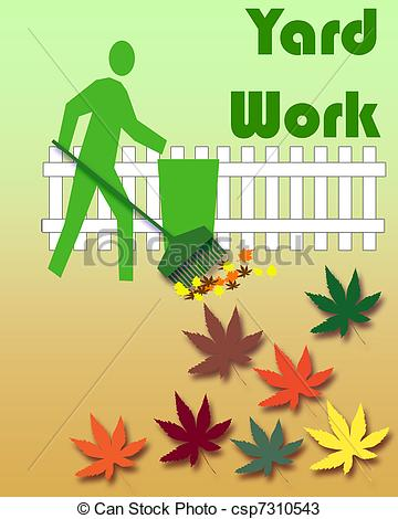autumn yard work - gardener raking leaves colorful yard work... ...