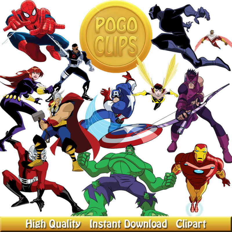 48 Avengers Clipart Characters Cartoon