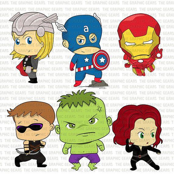 Baby Avengers Clip Art Set Avengers Heroes Clipart - Little Young Avenger  Heroes - captain america