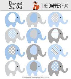 Azul y gris elefante Clip Art descargar por TheDapperFoxScraps. Baby Shower Elephants ...