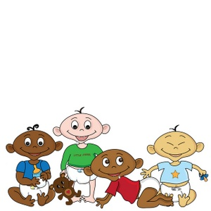 Diverse Babies Clipart Image: A diaper load full of diverse cartoon babies  of different nationalities