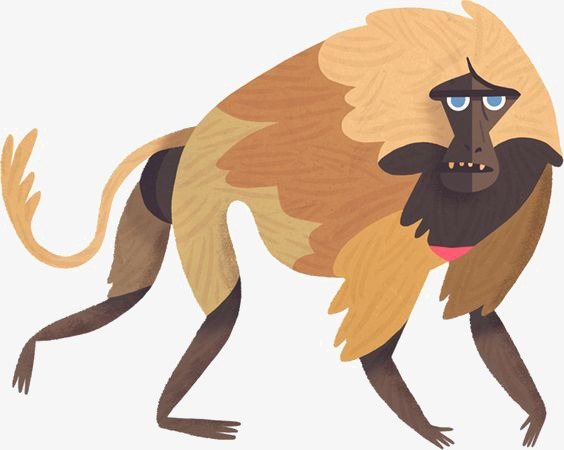 baboon, Hand Painted Monkey, Cartoon Baboon, Animal PNG Image and Clipart