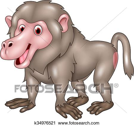 Clipart - Cartoon funny baboon isolated . Fotosearch - Search Clip Art,  Illustration Murals,