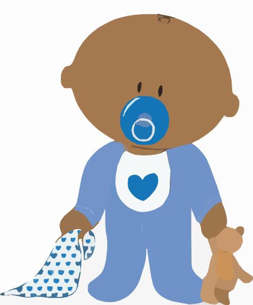 Baby Boy With Teddy Clip Art