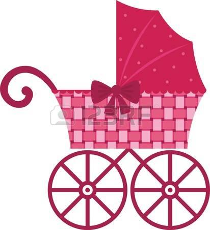 baby carriage: Pink Pram Illustration