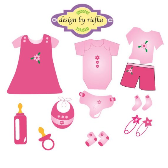 Baby Clothing In Pink Clipart By Riefka On Etsy