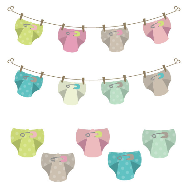 Baby diaper clothes line clipart