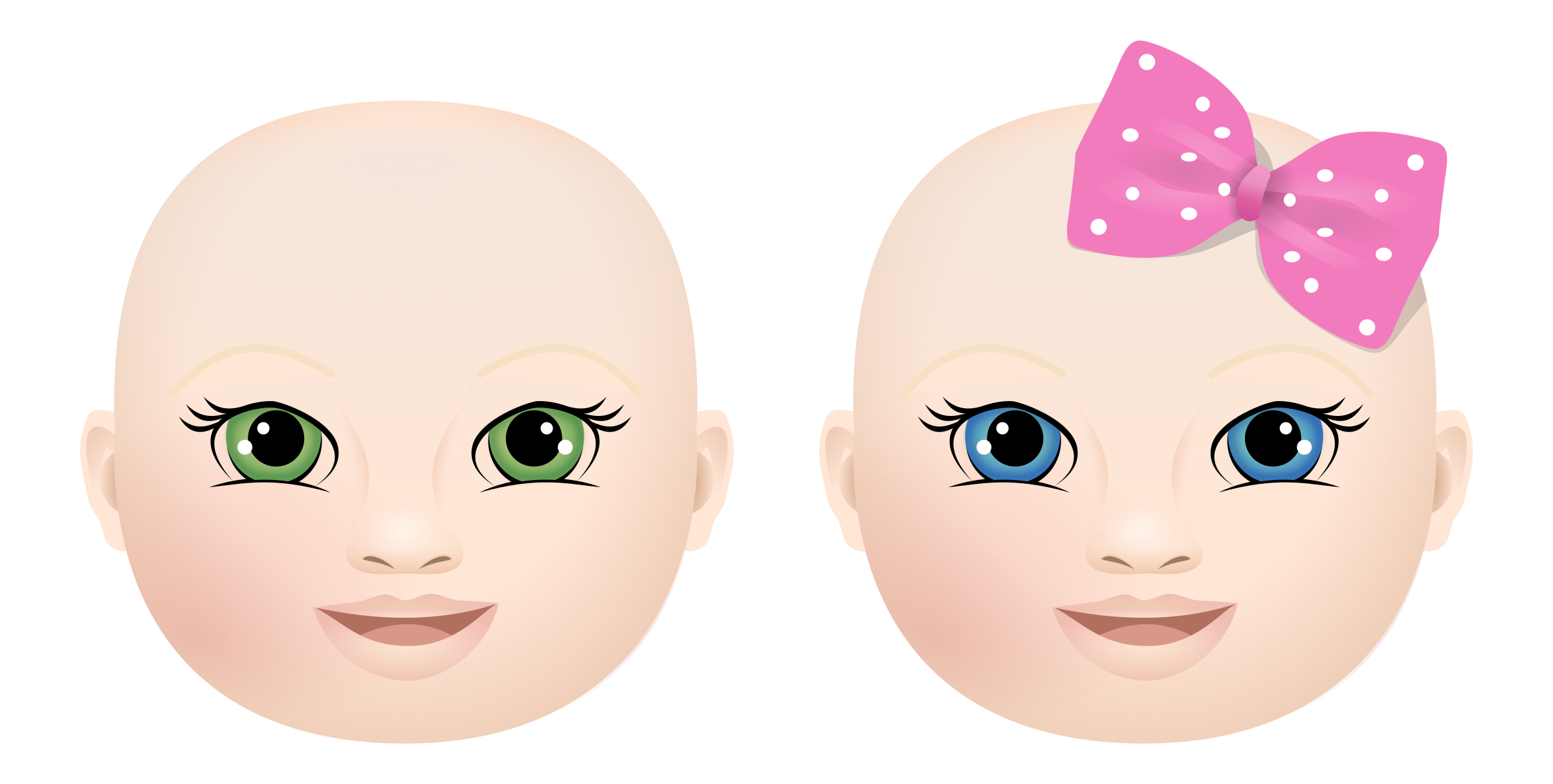 Baby Face Boy and Girl Clipart