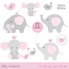 BABY GIRL Clipart, Cute Elephant Clipart, Pink Elephants, Baby .