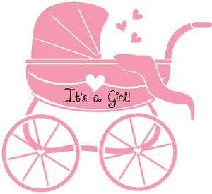 Baby Girl Clipart Image Silhouette Of A Baby Carriage In Pink
