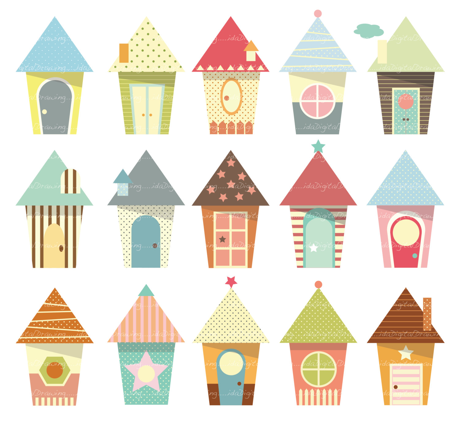 Baby Houses Clip Art High Resolution By Idadrawing On Etsy